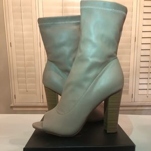 Olivia Jaymes Open Toe Taupe Heel Ankle Boot